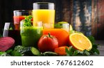 glasses with fresh organic... | Shutterstock . vector #767612602