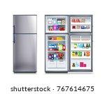 fridge full of food | Shutterstock .eps vector #767614675