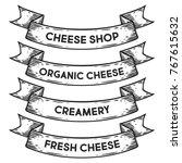organic cheese  cheese shop ... | Shutterstock .eps vector #767615632