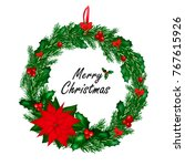 christmas wreath with red bow... | Shutterstock .eps vector #767615926