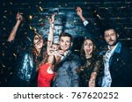 young beautiful people dancing... | Shutterstock . vector #767620252