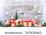 christmas gift boxes with... | Shutterstock . vector #767620462