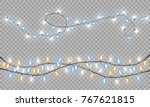 glowing christmas lights... | Shutterstock .eps vector #767621815