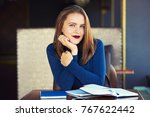 young model look woman with ... | Shutterstock . vector #767622442