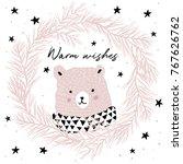 cute pink bear in pine wreath... | Shutterstock .eps vector #767626762