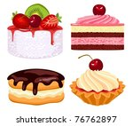 collection of beautiful cakes   Shutterstock .eps vector #76762897