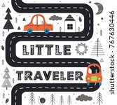 car on the road in scandinavian ... | Shutterstock .eps vector #767630446