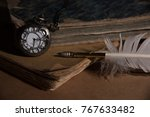 old books still life | Shutterstock . vector #767633482