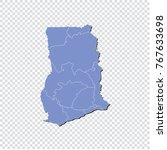 ghana map.high detailed blue... | Shutterstock .eps vector #767633698