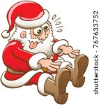 funny santa claus in seated... | Shutterstock .eps vector #767633752