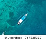 aerial view of boats in gili... | Shutterstock . vector #767635312