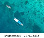 aerial view of boats in gili... | Shutterstock . vector #767635315