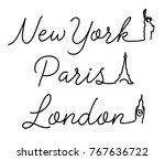 script typography with big ben  ... | Shutterstock .eps vector #767636722