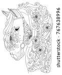 hand drawn horse head. sketch... | Shutterstock .eps vector #767638996