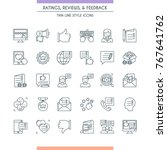 feedbacks and ratings icon set. ... | Shutterstock .eps vector #767641762