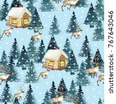 seamless pattern with winter... | Shutterstock . vector #767643046
