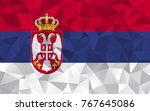 serbia flag. abstract polygon...   Shutterstock .eps vector #767645086