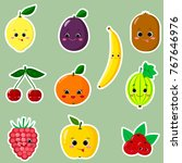 icons stickers of different... | Shutterstock . vector #767646976