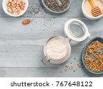 overnight oats in jar and... | Shutterstock . vector #767648122