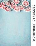 lovely flowers on light blue... | Shutterstock . vector #767652382