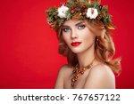 portrait of beautiful young... | Shutterstock . vector #767657122
