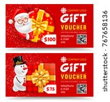 christmas gift   voucher for... | Shutterstock .eps vector #767658136