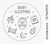 baby sleeping vector concept... | Shutterstock .eps vector #767663932