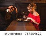 quarrel of couple in restaurant ... | Shutterstock . vector #767664622