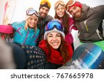 happy friends having fun on... | Shutterstock . vector #767665978