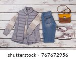 set of sweater  vest and... | Shutterstock . vector #767672956