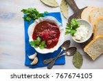 traditional ukrainian beet soup ... | Shutterstock . vector #767674105