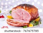 christmas smoked roasted glazed ...   Shutterstock . vector #767675785
