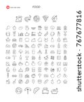 110 thin line icons. food ... | Shutterstock .eps vector #767677816