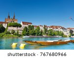 boats on the river rhine in... | Shutterstock . vector #767680966