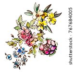 watercolor flowers illustration.... | Shutterstock . vector #767684005