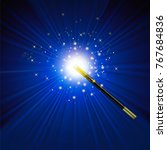 realistic magic wand with... | Shutterstock .eps vector #767684836