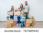 family moving to a new house | Shutterstock . vector #767685442