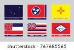 flags of us states. alaska ... | Shutterstock .eps vector #767685565