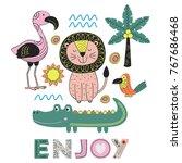 jungle animals in scandinavian... | Shutterstock .eps vector #767686468