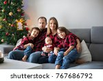 happy family portrait on... | Shutterstock . vector #767686792