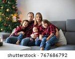 happy family portrait on... | Shutterstock . vector #767686792
