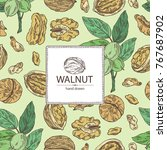 background with walnut  nuts... | Shutterstock .eps vector #767687902