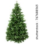 Stock photo green pine christmas tree isolated on white closeup 767688565