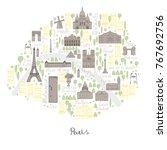 map of paris. vector sketch... | Shutterstock .eps vector #767692756