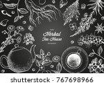 herbal tea shop frame vector... | Shutterstock .eps vector #767698966