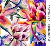 Watercolor Hand Drawn Tulip...