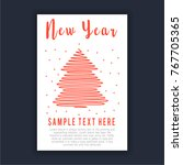 christmas tree new year poster  | Shutterstock .eps vector #767705365
