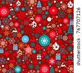 christmas background  seamless... | Shutterstock .eps vector #767707126