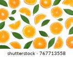 slices of orange or tangerine... | Shutterstock . vector #767713558