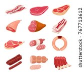 meat products and raw meat. set | Shutterstock .eps vector #767713612